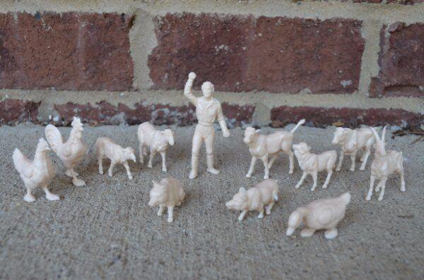 Marx Farmer Farm Animals 60MM Sheep Cow Chicken Pig Toy Figures Duck