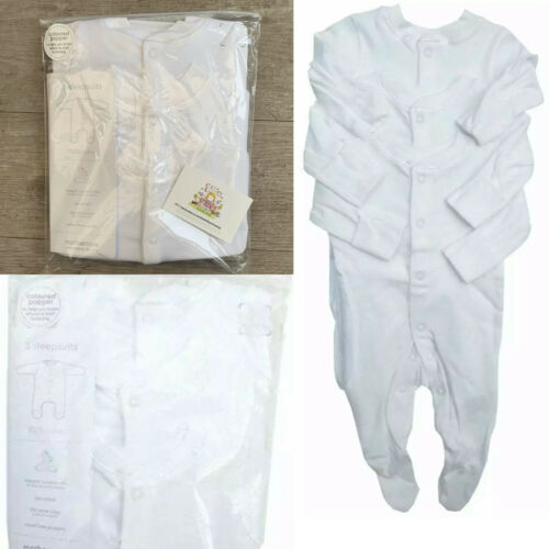 3x Mothercare Baby White Sleepsuit Cotton Unisex Babygrow Poppers All In One
