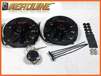 "7"" 80w AeroLine Electric Radiator / Intercooler Fans + Capillary Thermostat x2"