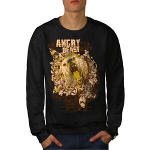 uomo Felpa Black Animal Angry New da Wild Bear 55n0F7r