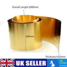 1pcs Brass Metal Thin Sheet Foil 0.02 x 100 x 1000 mm #E3-C002