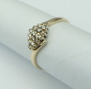 9ct-9Carat-Yellow-Gold-Ladies-Diamond-Kite-Cluster-Ring-UK-Size-L