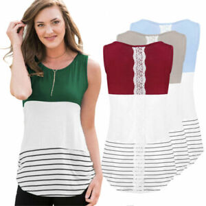 Fashion-Women-Striped-Print-Sleeveless-Casual-Blouse-T-Shirt-Tank-Top-Shirts
