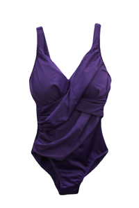 Miraclesuit Plum Cross-Over One Piece Swimsuit, Size US 12
