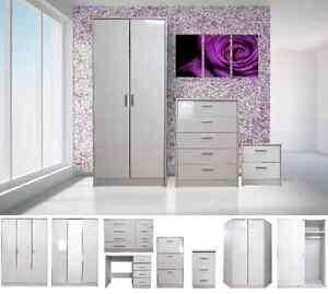 High-Gloss-White-Bedroom-Furniture-Range-Wardrobe-Tallboy-Chest-Bedside-Set