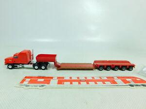 BT409-0-5-Herpa-H0-1-87-US-USA-Truck-Mack-mit-Schwerlast-Anhaenger-sehr-gut