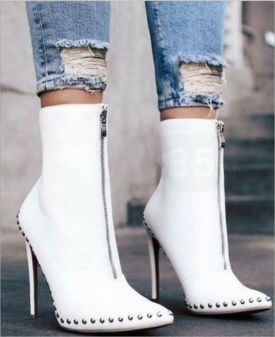 Womens Big Size US10 Knight Boots Studded Zipper Pointed High-heeled shoes Muk15