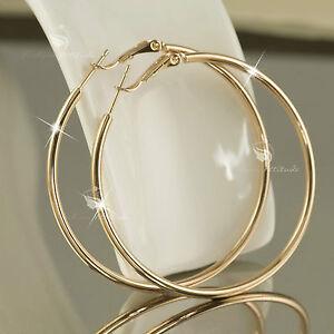 Image Is Loading 18k Gold Gf Hoop Earrings Round Large Solid