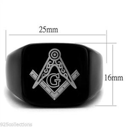 Details about  /Free Mason Masonic Black Plated 316 Stainless Steel No Stone Men Ring Size 9