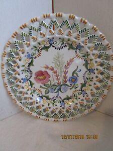 Vintage-Carvalhinho-Porto-Portugal-Handmade-8-034-Round-Latticed-Plate-EUC