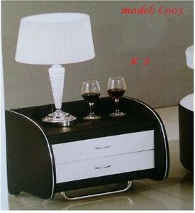2 x pu leather bedside tables with drawer black white ebay image is loading 2 x pu leather bedside tables with drawer watchthetrailerfo