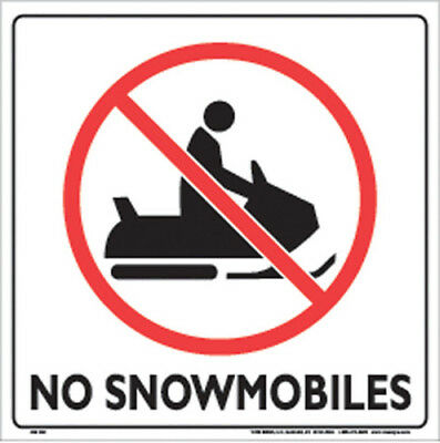 Voss Signs 328 No Snowmobiles Plastic White Sign 12 inch