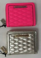 Rebecca Minkoff Mini Ava Zip Quilted Leather Wallet Pewter Electric Pink