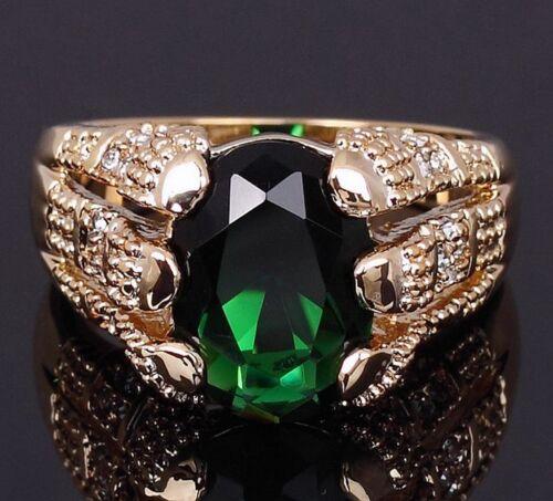 Mignon Halo Taille 8-11 Vert Émeraude 18K Gold Filled Chic Homme Fashion Anneaux cadeau