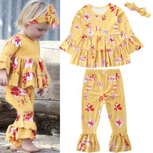 Toddler Baby Girl Flower Print Long Sleeves Tops+Pant+Headband Autumn Outfit Set