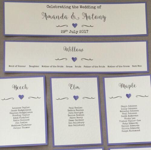 Handmade Personalised Vintage Heart Table Seating Plan Names Individual Cards