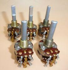 Audio Taper 500 Ohm Dual Gang Potentiometer 1 Shaft Lot Of 5