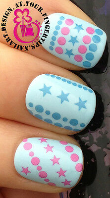 NAIL ART WRAP WATER TRANSFERS STICKERS DECALS SET BLUE PINK LINES DOT STARS #131