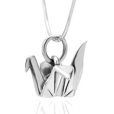 925 Sterling Silver Origami Bird Paper Crane Flapping Bird Pendant Necklace 1...