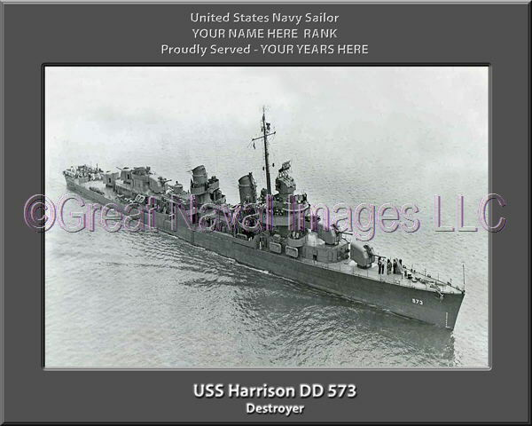 USS Harrison DD 573 Personalized Canvas Ship Photo Print Navy Veteran Gift