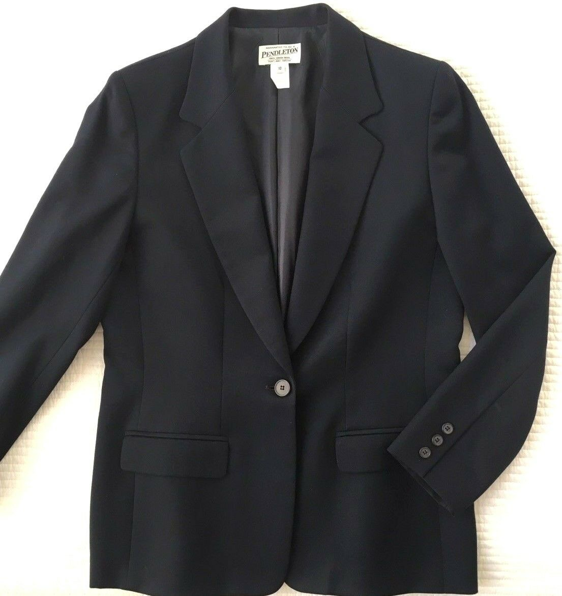 Pendleton Women's Navy Lined Virgin Wool Single Button Blazer Sz 10 USA Made