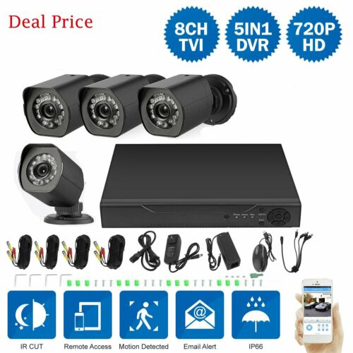 8CH//4CH 1080P HDMI HD-TVI DVR 1500TVL 1MP IR-CUT CCTV Security Camera System 1TB