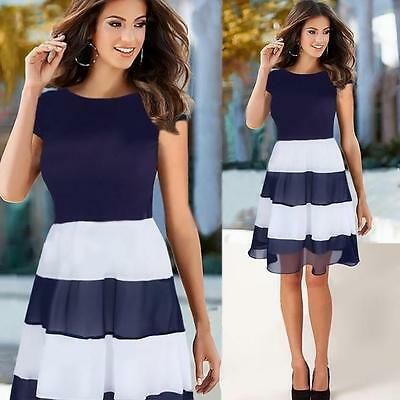 Women Elegant Summer Chiffon Dress Cocktail Party Skater Casual Pleated Dresses