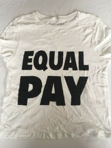 """Women's ALICE OLIVIA  white//black S//s t shirt new crop top /""""EQUAL PAY/"""" =$"""