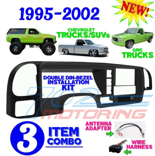 1995-2002 SILVERADO GMC SIERRA CAR STEREO RADIO DOUBLE DIN INSTALL  DASH KIT