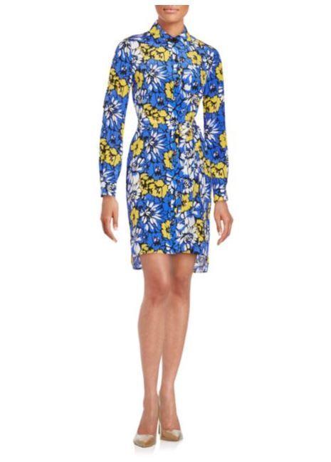368 NWT DVF Prita Floral Print Dahlia bluee Silk  Shirtdress sz 2
