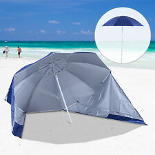 Outsunny 7ft Beach Sport Umbrella UV Protection Sun Canopy Shelter Blue Portable