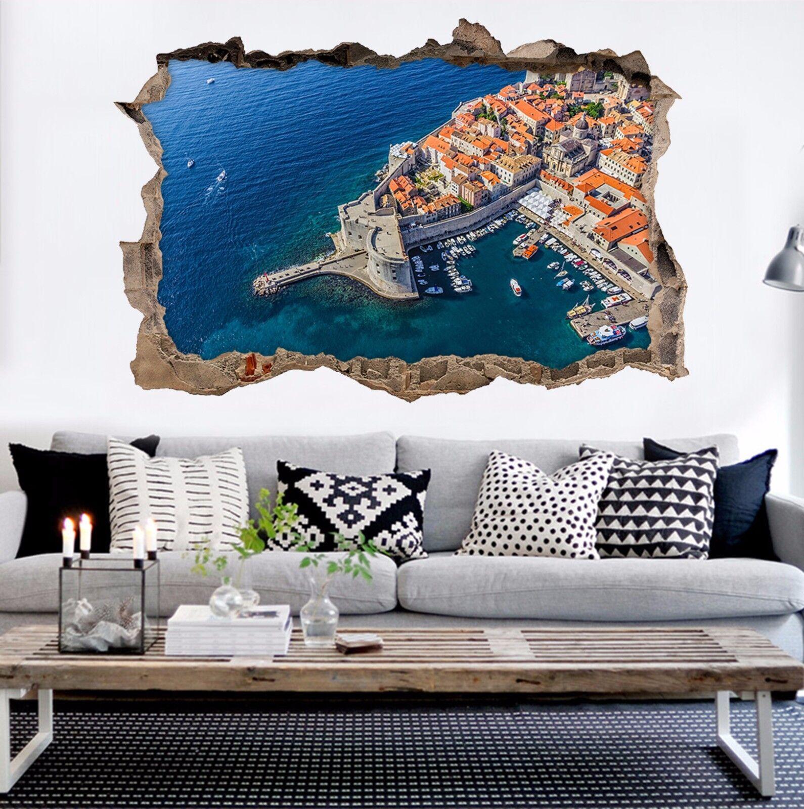 3D Küsten Stadt 86 Mauer Murals Mauer Aufklebe Decal Durchbruch AJ WALLPAPER DE