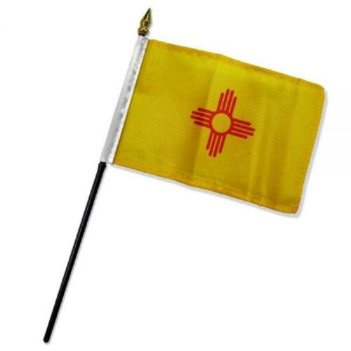 """4/""""x6/"""" New Mexico Stick Flag Table Staff Desk Table"""