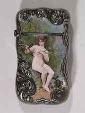 1890s ENAMELED STERLING SILVER MATCH SAFE VESTA WITH BEAUTIFUL NUDE WOMAN