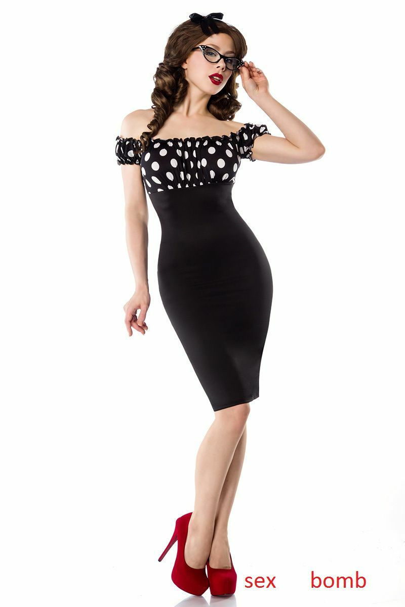SEXY abito VINTAGE anni 50 schwarz bianco POIS tagl. 38,40,42,44,46 fashion GLAMOUR