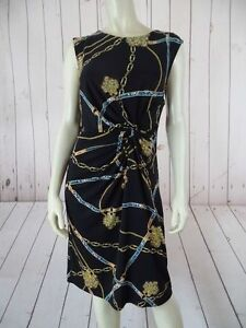 APT-9-Dress-S-Black-Poly-Spandex-Stretch-Pullover-Chain-Print-Knotted-Ruche-CHIC