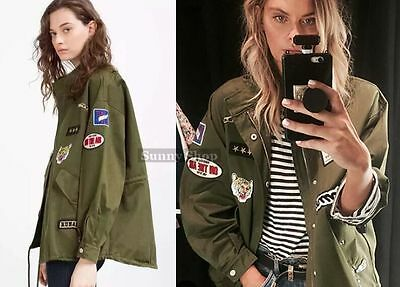 Womens Studded Appliquel Green Drawstring Military Trench Parka Jacket Coat