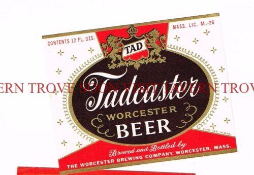 Unused 1950s Tadcaster Beer 12oz Worcester Label Tavern Trove Massachusetts