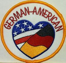 GERMAN-AMERICAN USA & GERMANY FLAG Iron-On Patch Emblem Gold  Border