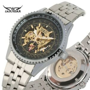JARAGAR-Mens-Automatic-Watch-Self-Winding-Mechanical-Wristwatch-Stainless-Dial