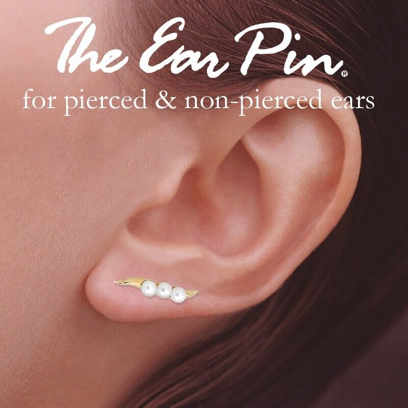 10K gold And Fresh Water Pearl Ear Pins goldgem The Ear Pin Collection Earr
