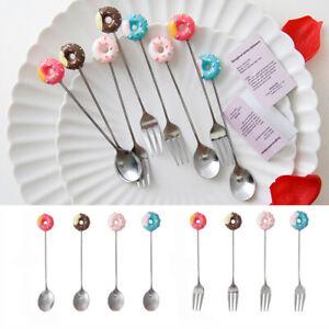 Coffee-Mini-Ice-Cream-Flatware-Stainless-Steel-Dessert-Fork-Doughnut-Spoon