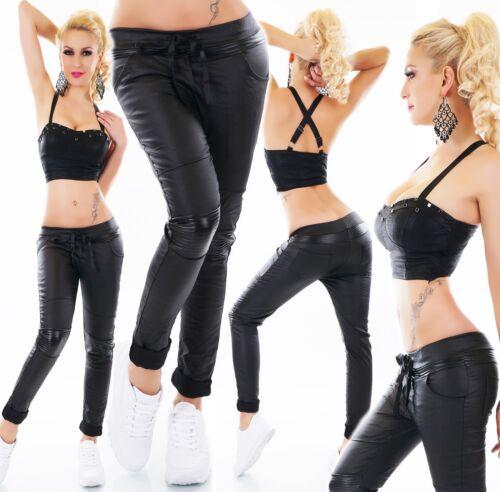 Simili En Italy Look cuir Noir Pantalon Motard Jeans Mouillé Femmes Cuir Stretch AE7dYq7w