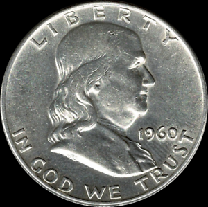 A-1960-D-Franklin-Half-Dollar-90-SILVER-US-Mint-034-About-Uncirculated-034