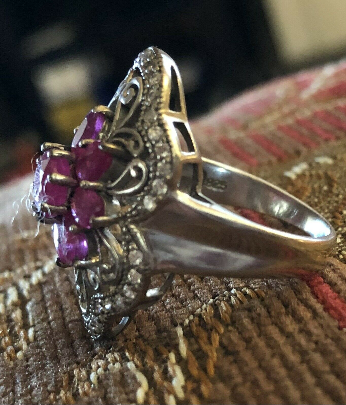 Sterling Silver Ruby Floral Flower Ring - image 5