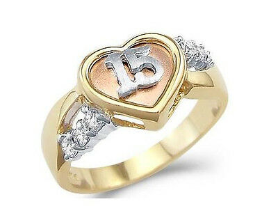 14k White Rose & Yellow Gold Sweet 15 Birthday Heart Quinceanera Ring Band