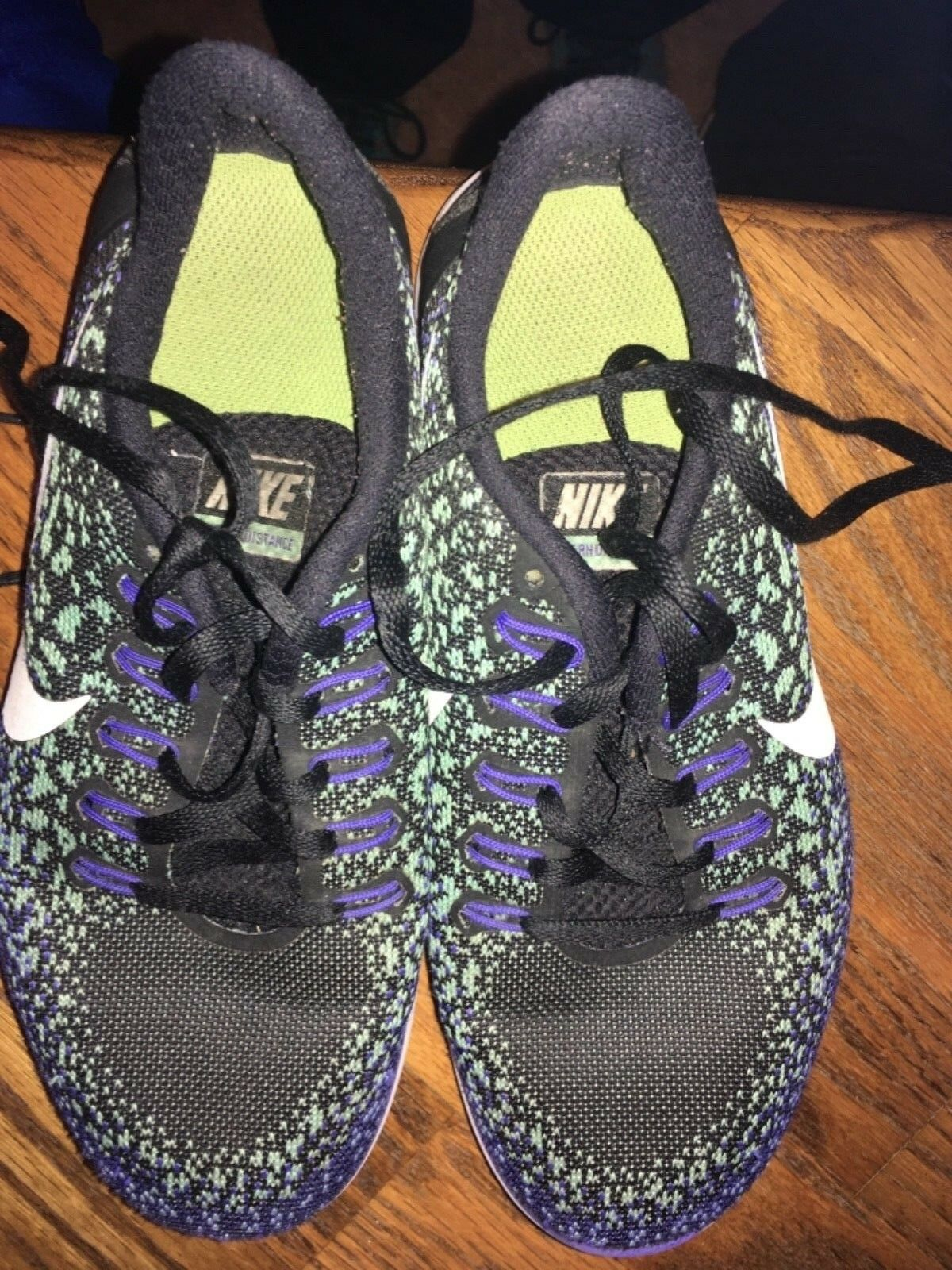Nike Free RN 827116-013 Distance Black/White-Green Glow-Persian Violet 827116-013 RN Size 6 ec3090