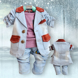Toddler Boy 3PC Outfit Sets Sport Style Deerlet Snowsuit Size 1-4 years Hoodie.