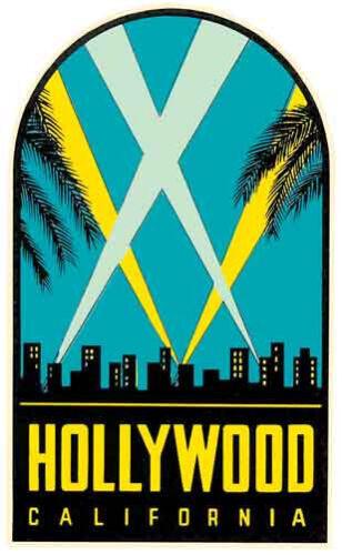 Hollywood California California Los Angeles Estilo Vintage Década de 1950 viaje Calcomanía//Pegatina