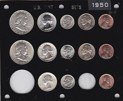 Brilliant Uncirculated in Black Capital holder 1947 P-D-S US Mint set-14 coins